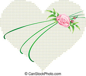 heart with a rose - Vector illustration of a heart with a...