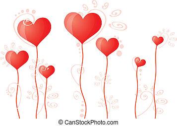 hearts on stalks - Vector illustration of hearts on stalks
