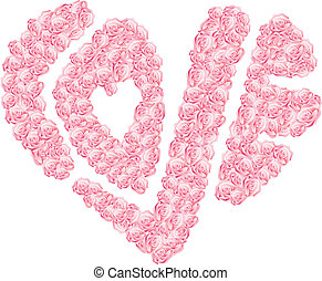 heart-shaped - Vector illustration of heart-shaped word love...