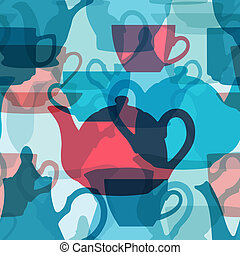 Seamless crockery background. - Seamless crockery background...