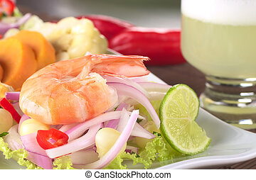 Peruvian Prawn Ceviche: King prawn on red onions and lettuce...