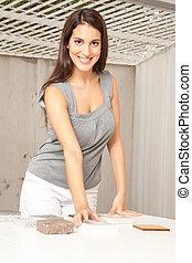 Designer with Floor Tiles