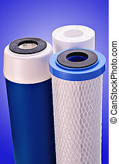 water filter - filter for water treating on a dark blue...