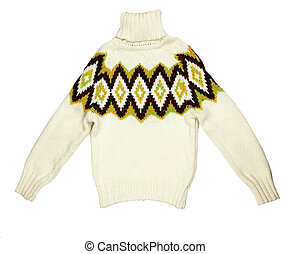 bright knit sweaters knitted with a pattern on a white...