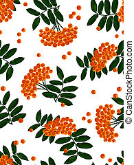 Mountain ash seamless background. Vector illustration.