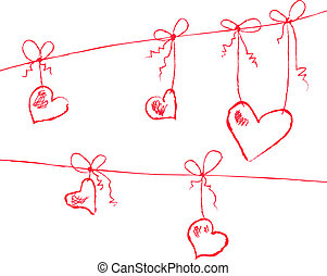 hearts hanging - Vector illustration of hearts hanging on...