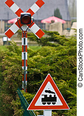 Train crossing traffic sign