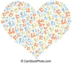 heart made of flowers - Vector illustration of a huge heart...