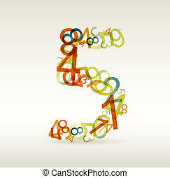 Number five made from colorful numbers
