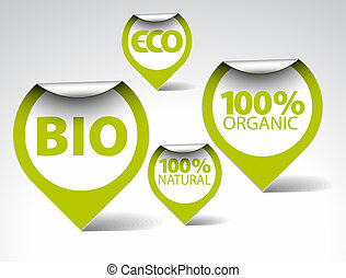 Green tags for organic, natural, eco, bio food