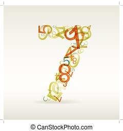 Number seven made from colorful numbers - check my portfolio...