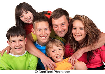 Happy father with children - Portrait of happy father with...