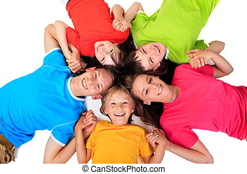 Siblings in colorful t shirts