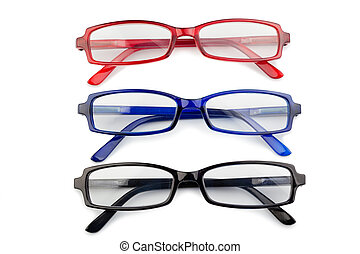 Black red and blue glasses on a white background