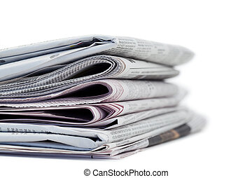 Newspapers on a white background - Newspapers on a white a...