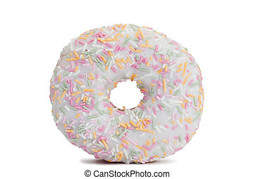 Pink Iced Doughnut covered in sprinkles isolated against...