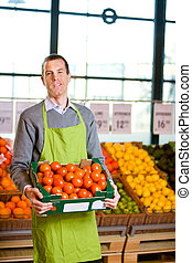 Grocery Store Owner - A friendly grocery store owner with a...