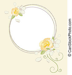 Apple and rose flowers frame. Vector illustration.