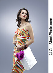seductive woman looking tall stripes dress - tall girl...