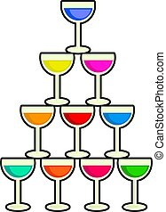 Stack of Drinks - Simple graphic illustration of several...