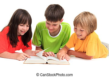 Children reading book - Two happy young brothers and sister...