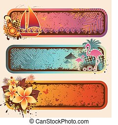 Tropical Banners Set - Vector set of three colorful retro...