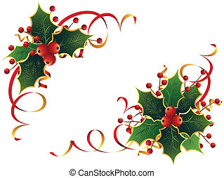 Christmas Holly - Stylish Christmas decoration with holly,...