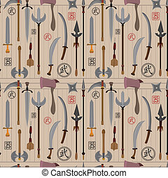 cartoon Chinese weapon seamless pattern