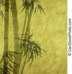 silhouette, branches, bambou, papier, fond