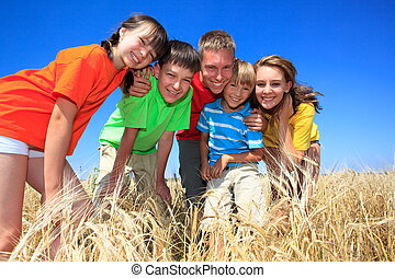 Five children in wheat field