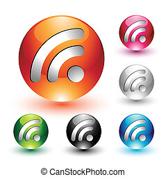 RSS Feed Icons Set - Vector set representing six rss feed...
