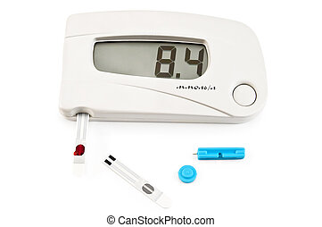 Glucometer white with stripes and needle - White instrument...