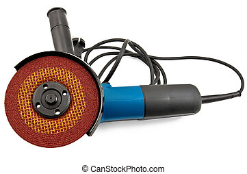 Sander power tools - Electric tool with brown grinding wheel...