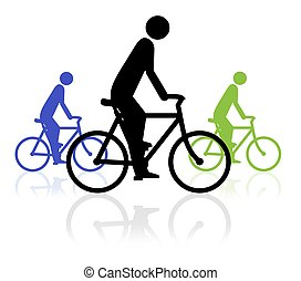 Bike Event - Illustration of three people on bikes