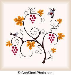 Grape vine and birds.
