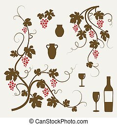 Grape vines and wineglasses set. - Grape vines, wineglasses...