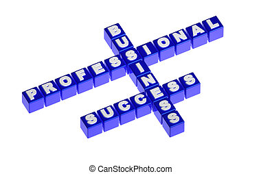 Blue cubes with words business success professional