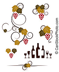 raisin, vignes, wineglassas, ensemble