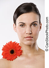 beauty with not retouched skin - fresh portrait of a young...