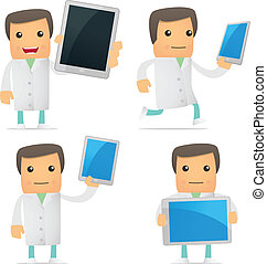 set of funny cartoon doctor in various poses for use in...