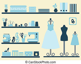 Sewing room and objects set. - Sewing room interior and...