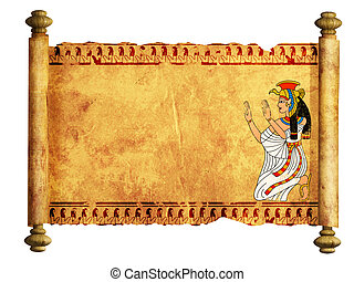 Isis - Scroll with Egyptian goddess Isis image Isolated over...