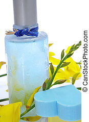 fresh scent - a bottle of fresh scent with flowers and...