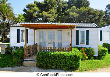 mobile home - closeup of a mobile home in a campsite on the...