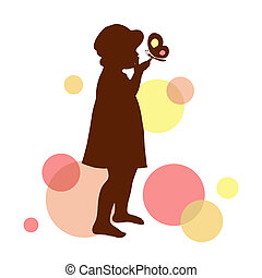 Girl silhouette with butterfly Vector illustration
