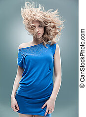 fashion portrait curly blonde