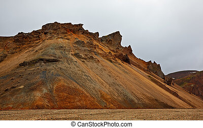 Multicolored rhyolite mountains in Landmannalaugar,...