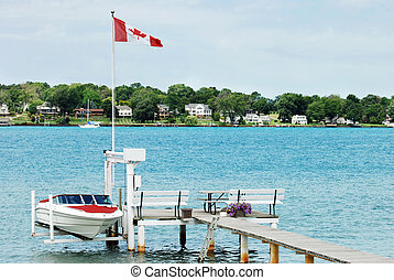 dock with speed boat stored on summer day