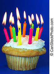 Cupcake with lots of candles