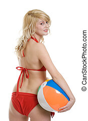 blond woman with beach ball